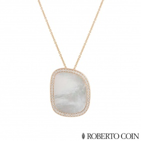 Roberto Coin Rose Gold Diamond and Mother of Pearl Pendant 8881934AX31M